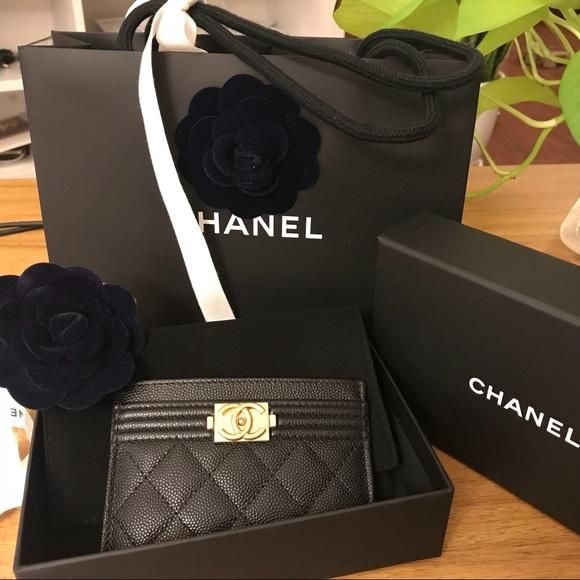 3e7b977f Brand new Chanel Le Boy Card Holder Black Caviar NWT